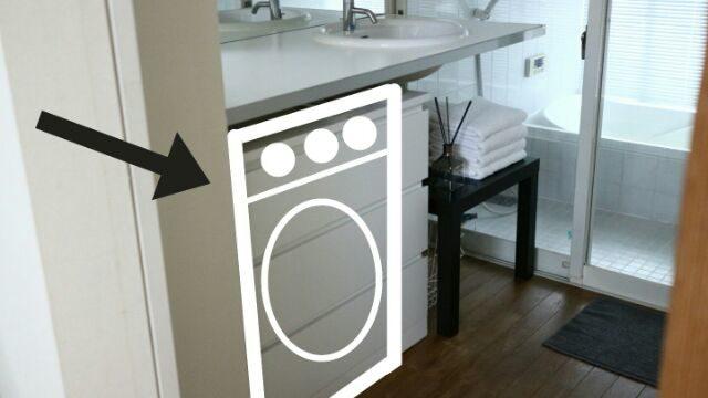 洗面台の下に置いていた洗濯機のイメージ画像