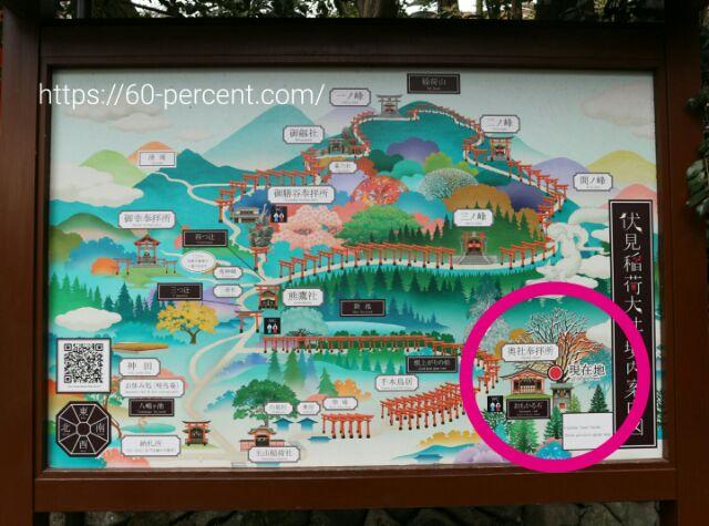 伏見稲荷大社の境内案内図の画像
