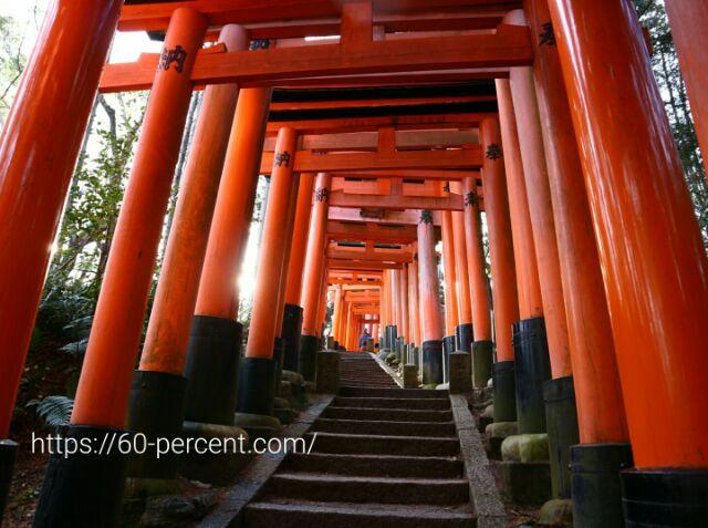 伏見稲荷大社の鳥居と階段の画像