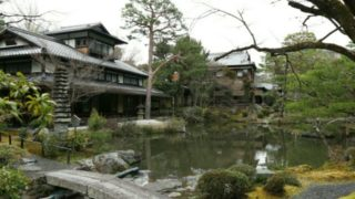 白沙村荘の庭園の池の画像