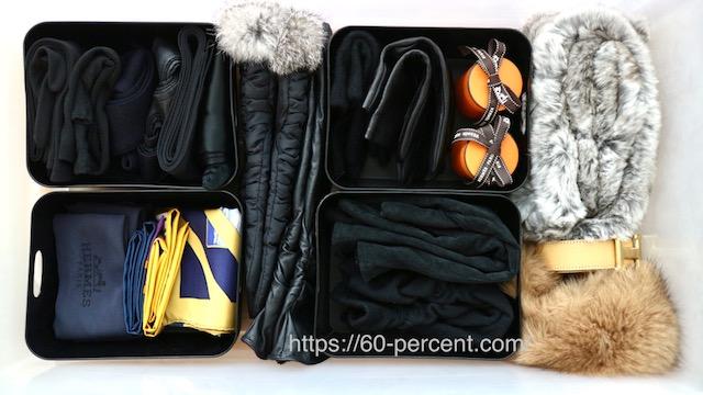 100均のケースを使ったファッション小物の収納の画像