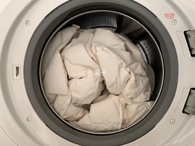 自宅の洗濯機で肌掛け羽毛布団を乾燥させた直後の画像